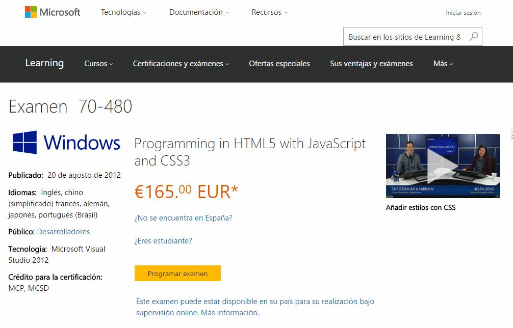 Página de un examen de certificación de Microsoft