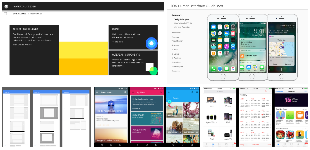 Varias capturas de pantalla de Google Material Design y Apple Human Interface Guidelines