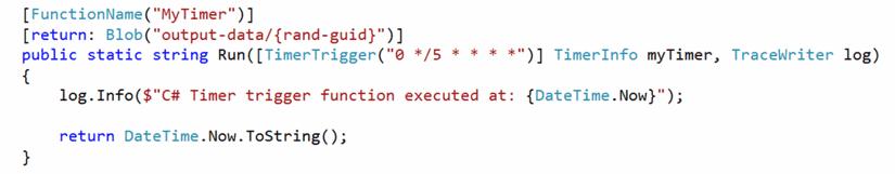 Ejemplo de función desencadenada por un temporizador