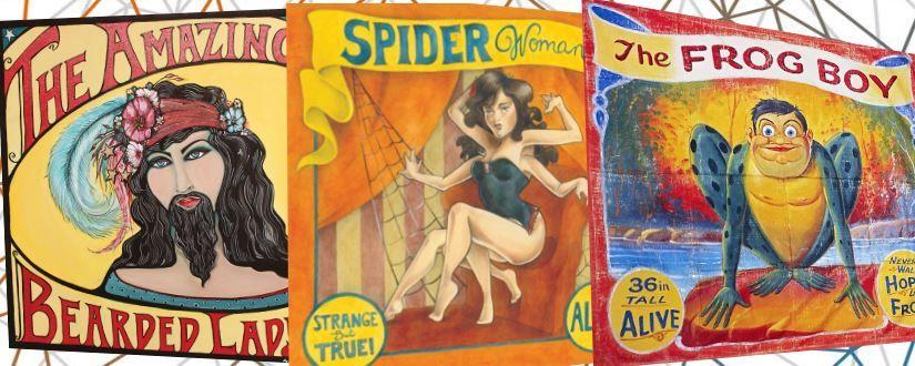 Imagen ornamental de carteles antiguos de fenómenos de circo
