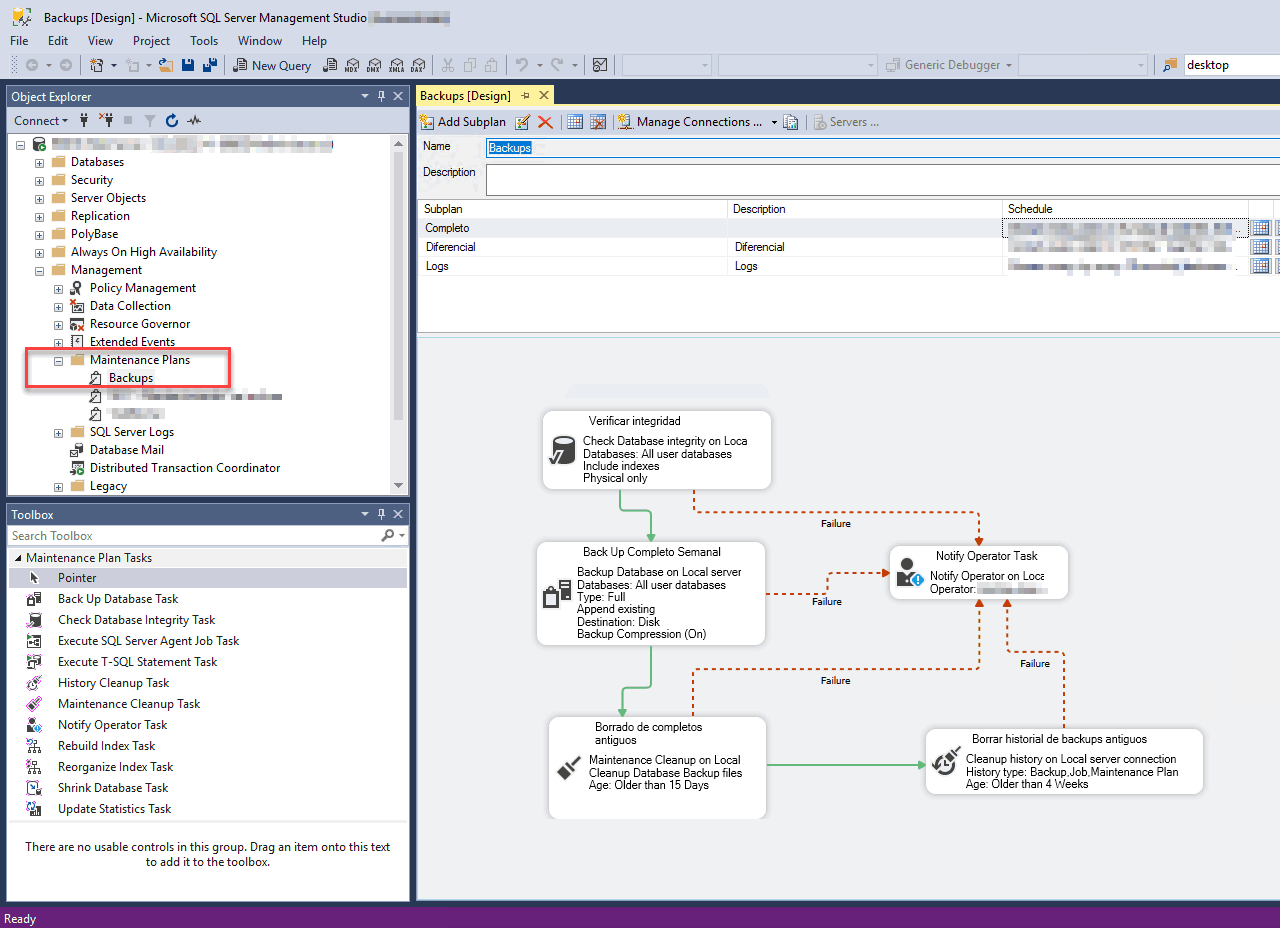 La interfaz de un plan de mantenimiento de SQL Server, con un plan de backups completos con retención quincenal