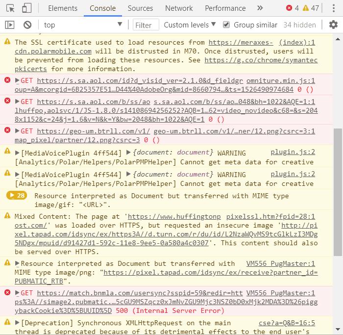 Herramientas para desarrolladores de Chrome mostrando una lista de errores de HuffingtonPost