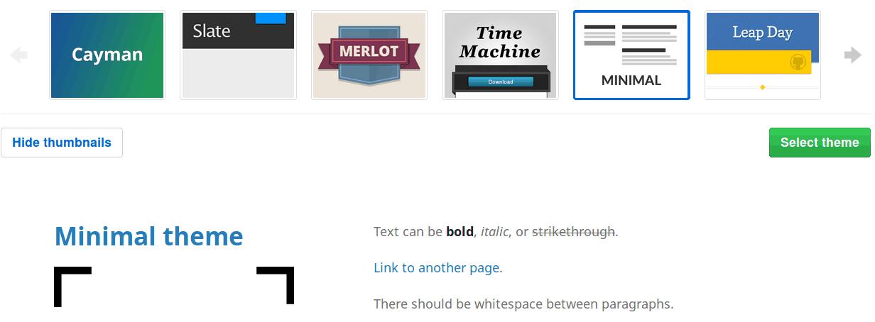Selección de temas en GitHub