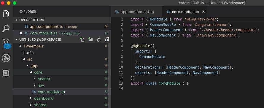 Visual Studio Code editando un archivo de Angular de la aplicación de ejemplo de nuestro curso online