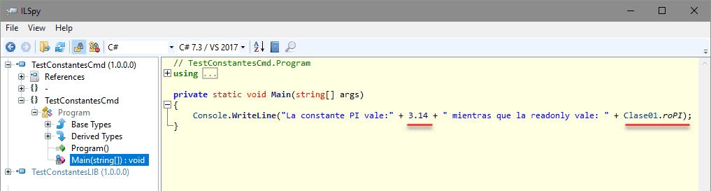 Código generado por el compilador en el que se ve que las constantes se sustituyen por sus literales
