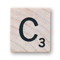Imagen ornamental. Letra C en el scrabble. elaboración propia de campusMVP.