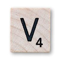 Imagen ornamental. Letra V en el scrabble. elaboración propia de campusMVP.