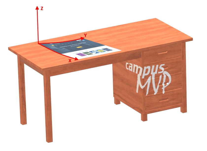 La imagen muestra un render 3D de una página Web impresa, encima de una mesa, con los ejes de referencia dibujados encima