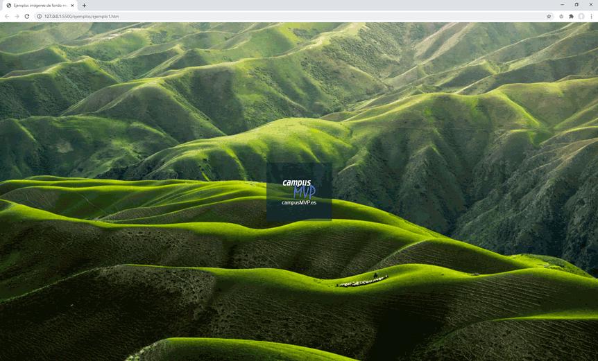 Pantallazo de la web de ejemplo con la imagen de fondo a todo color. Imagen de Qingbao Meng en Unsplash CC0