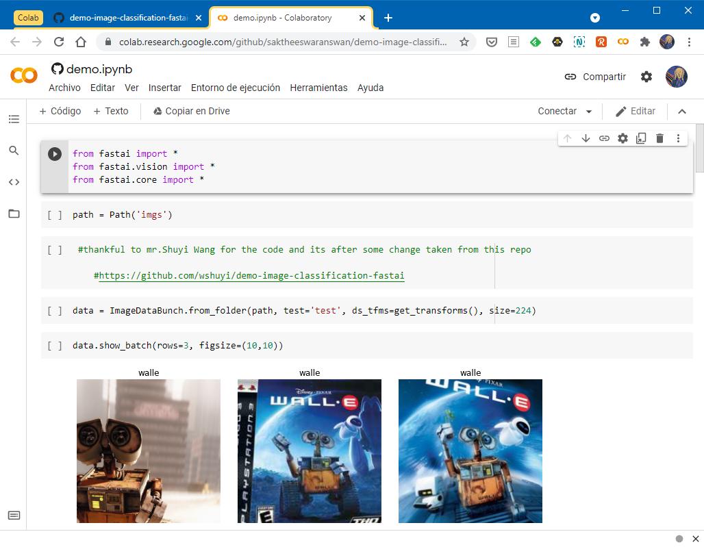 El mismo archivo abierto al instante en Google Colab par apoder ejecutarlo y trabajar con él