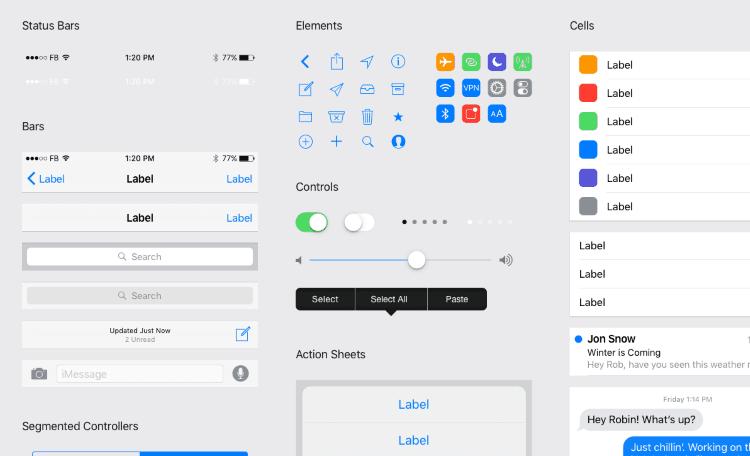 Plantillas Photoshop y Sketch para prototipado de apps para iPhone